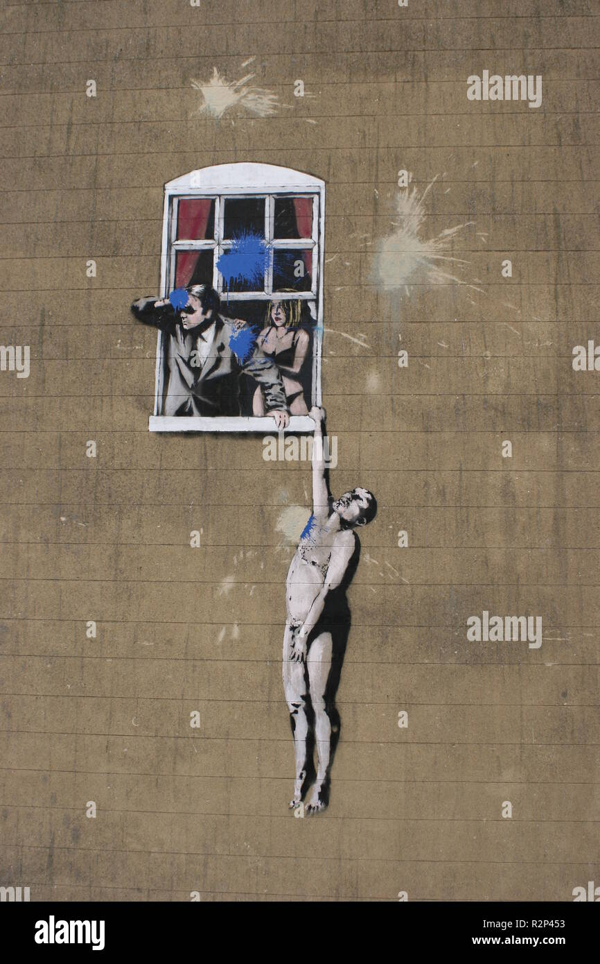 Graffiti painted outside of the Bristol Art Museum during the free Banksy exhibition 'Bristol Museum Vs Banksy in 2009. - Stock Image