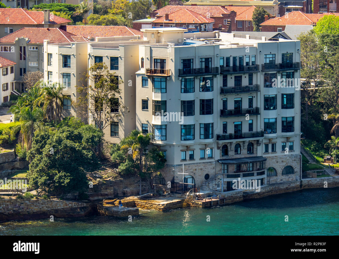 Luxury residential apartments in kirribilli on the North Shore of Sydney Harbour Sydney NSW Australia. - Stock Image