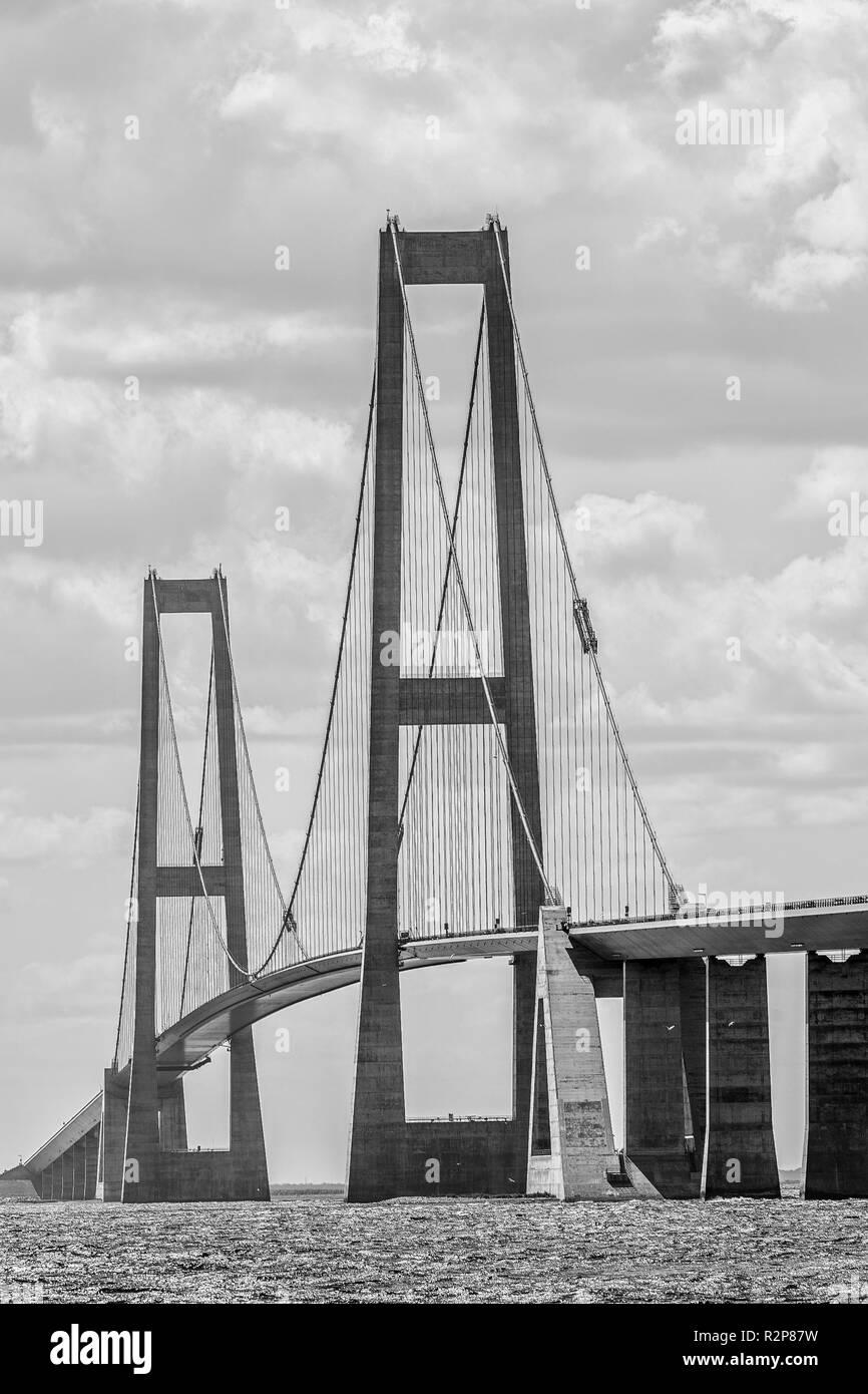 Great Belt Bridge  between the islands of Zealand and Funen. Denmark - Stock Image