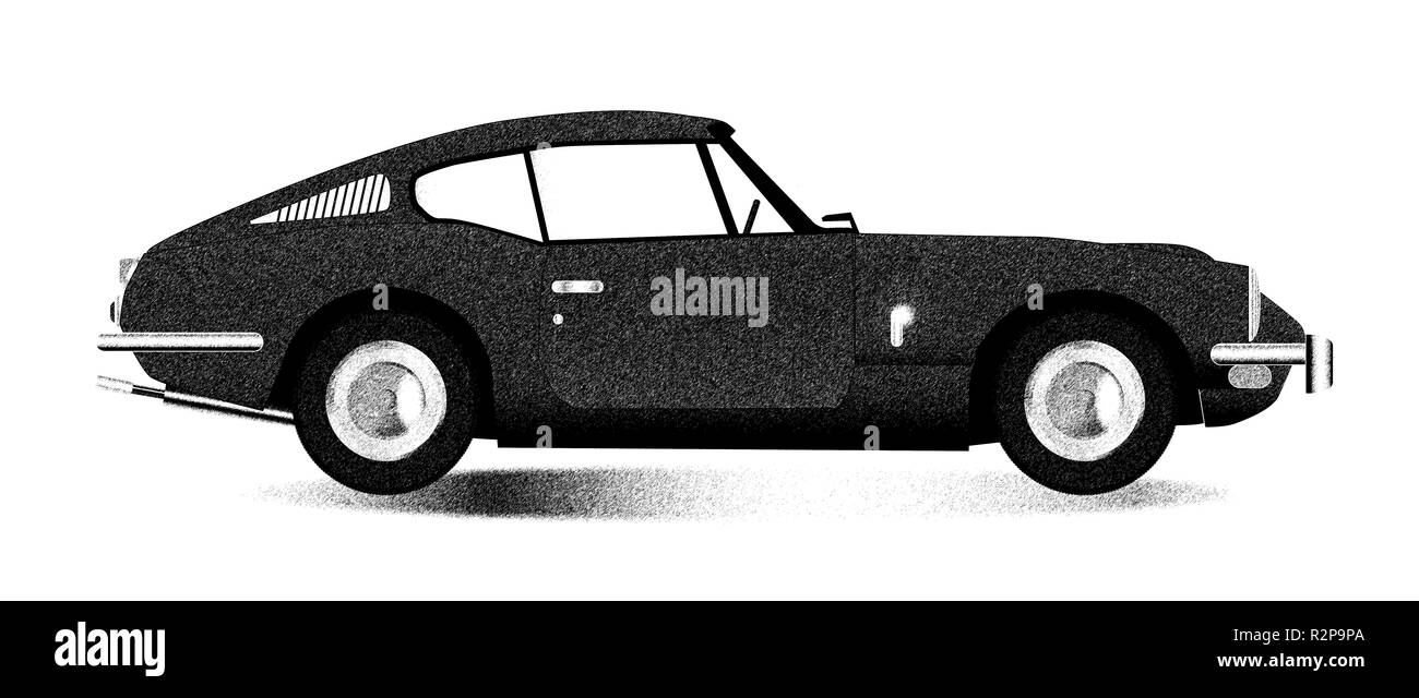 A classic old British hard top sports car sketch over a white background - Stock Image