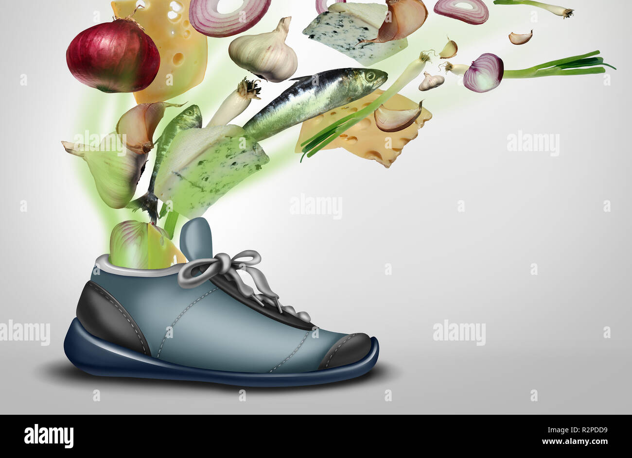 Smelly shoe as a dirty stinky sweaty sneaker or footwear with foot or smelly feet perspiration with 3D illustration elements. - Stock Image