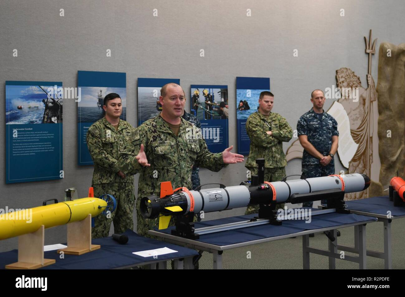 KEYPORT, Wash. (Nov. 3, 2018)  Cmdr. Scott J. Smith, commanding officer, Unmanned Undersea Vehicle Squadron One (UUVRON 1), speaks during Deep Sea Day at the United States Naval Undersea Museum (USNUM). USNUM is dedicated to educating the public about the U.S. Navy's undersea operations, technology, combat, research, and salvage operations. - Stock Image