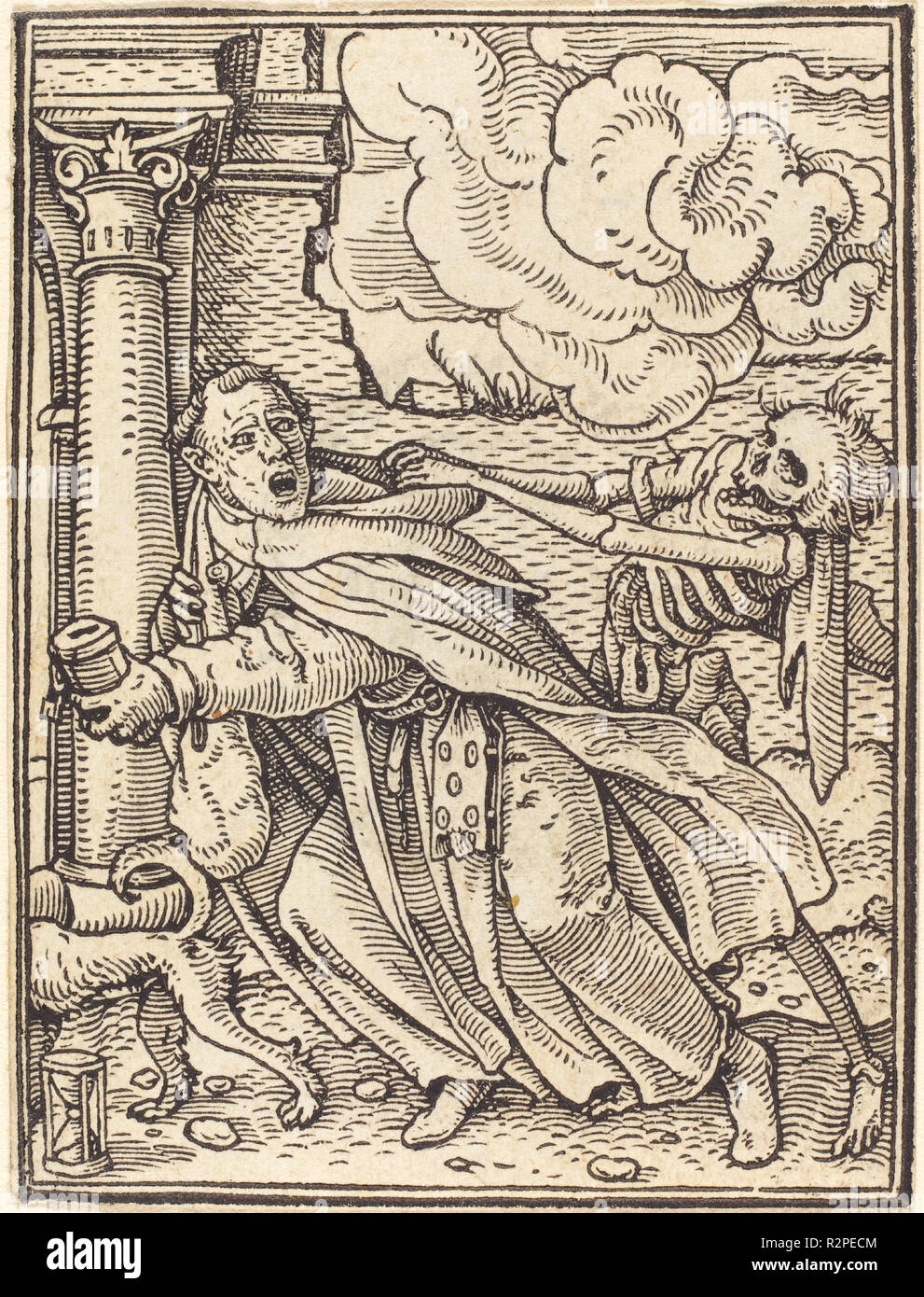 Mendicant Friar. Medium: woodcut. Museum: National Gallery of Art, Washington DC. Author: Hans Holbein the Younger. - Stock Image