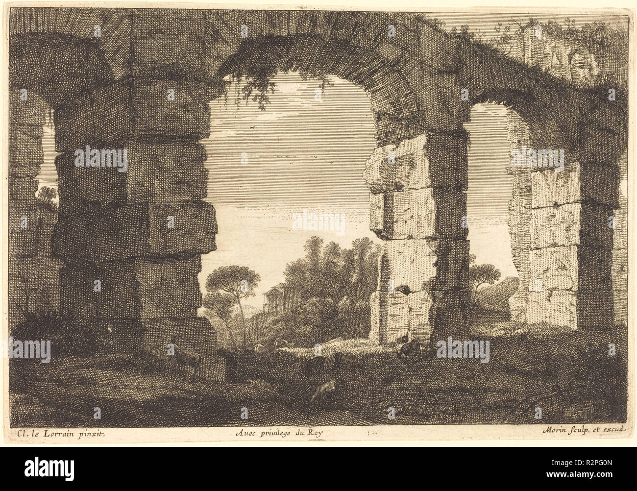 Ruins of an Aquaduct. Medium: engraving and etching. Museum: National Gallery of Art, Washington DC. Author: Jean Morin after Claude Lorrain. Jean Morin. After Claude Lorrain (Claude Gellée). - Stock Image