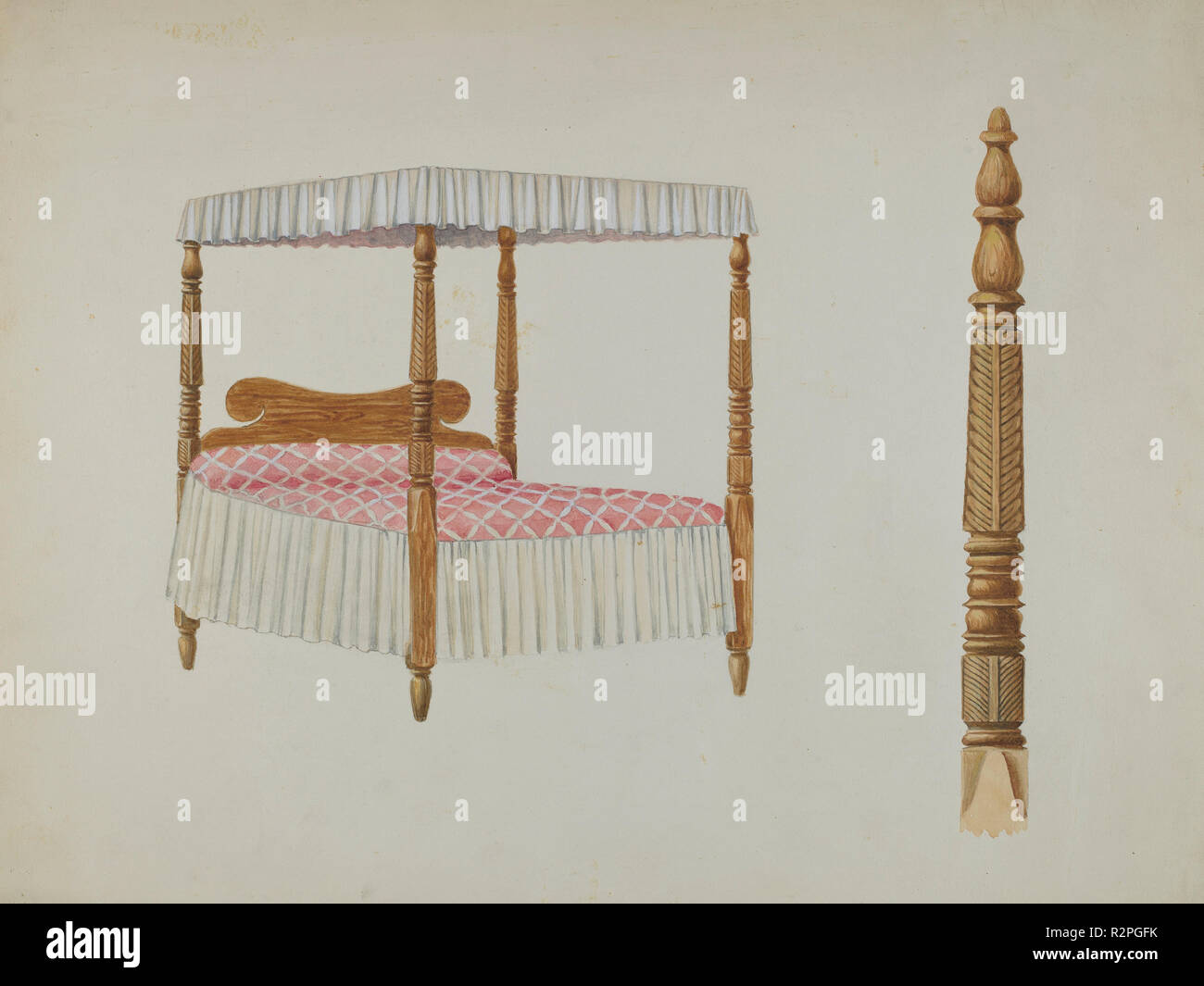Four Post Bed. Dated: c. 1940. Dimensions: overall: 30.4 x 40.6 cm (11 15/16 x 16 in.)  Original IAD Object: 6'x7'x7' high.. Medium: watercolor, colored pencil, gouache, and graphite on paper. Museum: National Gallery of Art, Washington DC. Author: David S. De Vault. - Stock Image