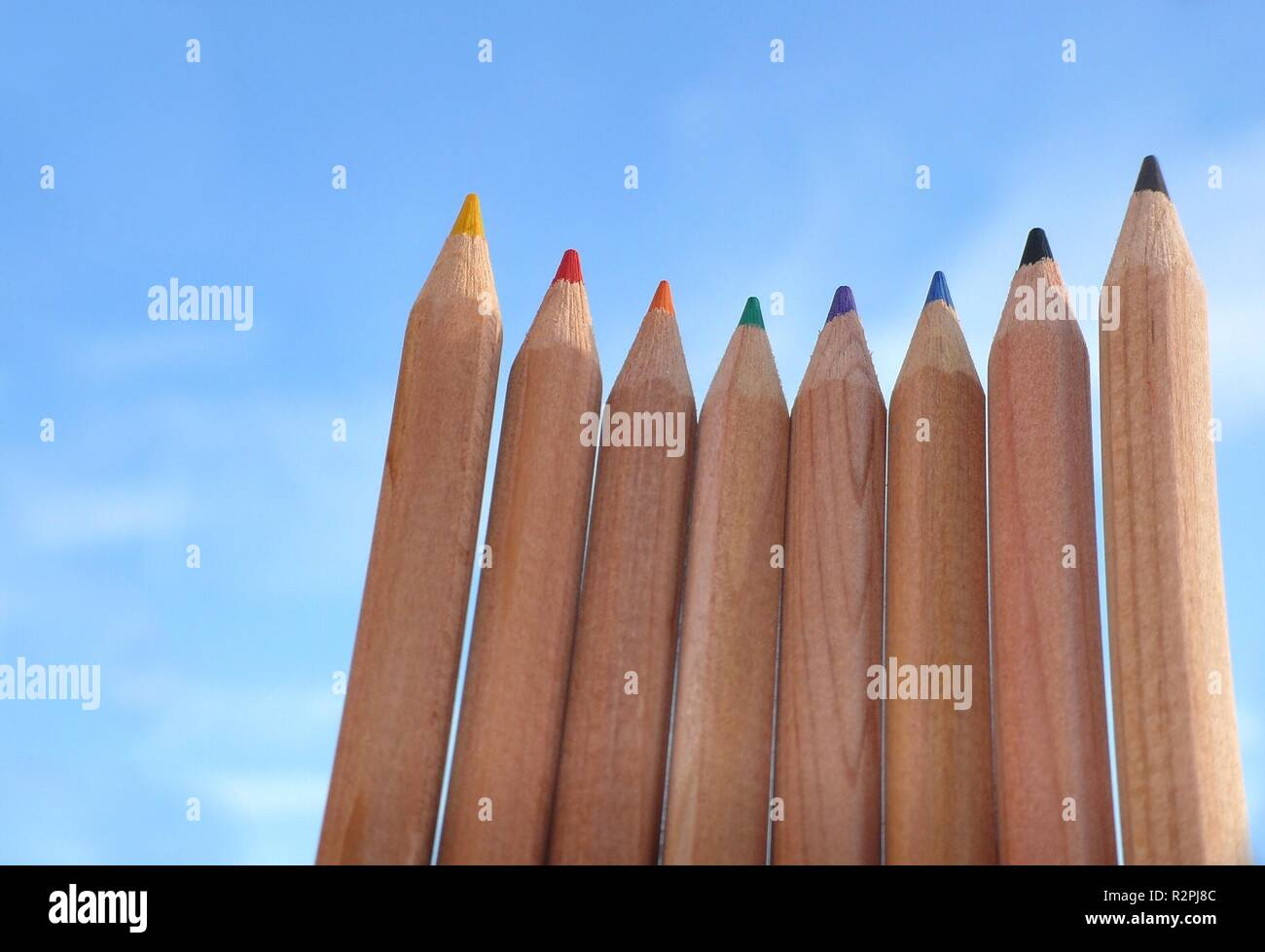 crayons in the sky Stock Photo