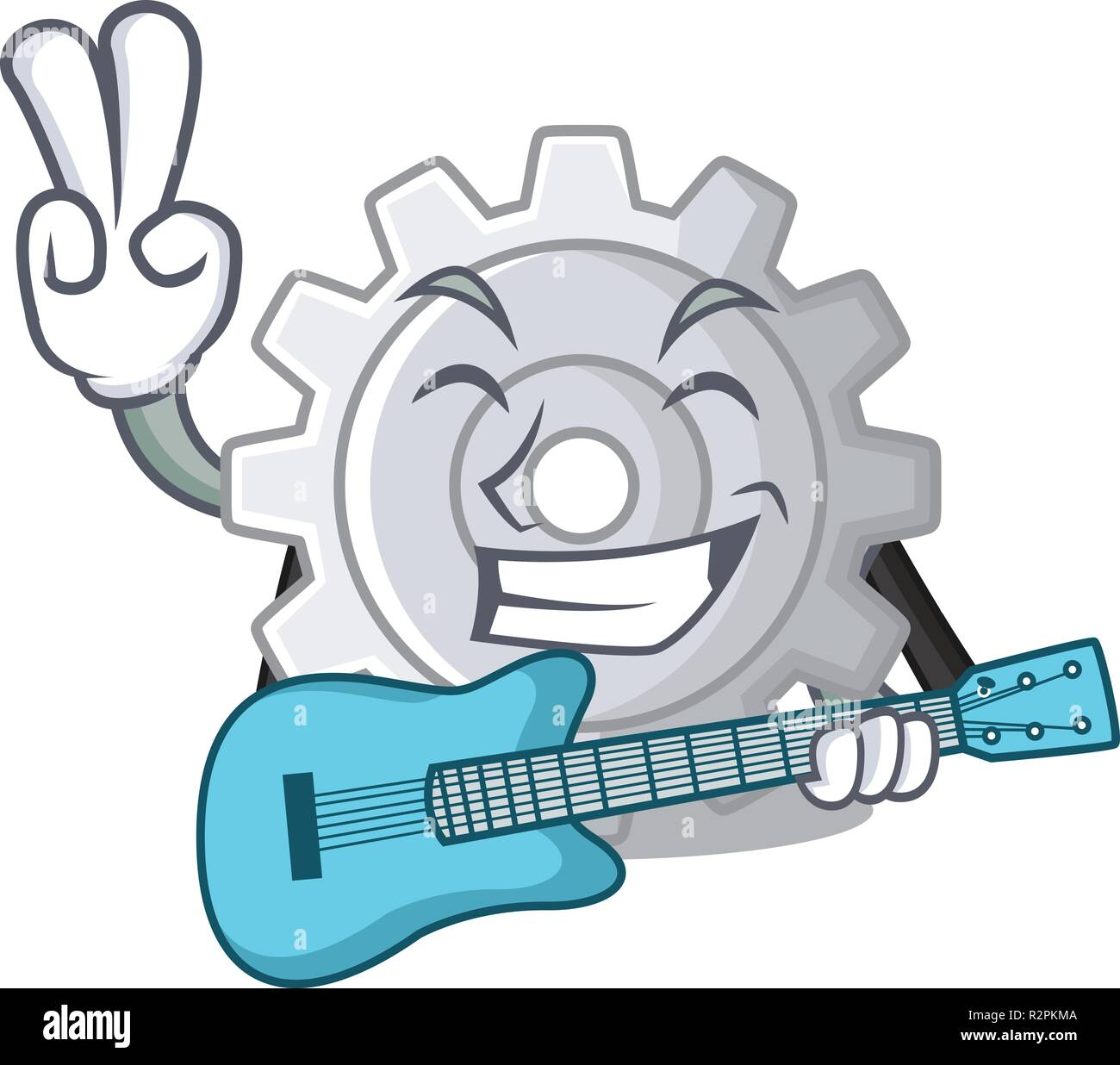 With guitar gear settings mechanism on mascot shape - Stock Image