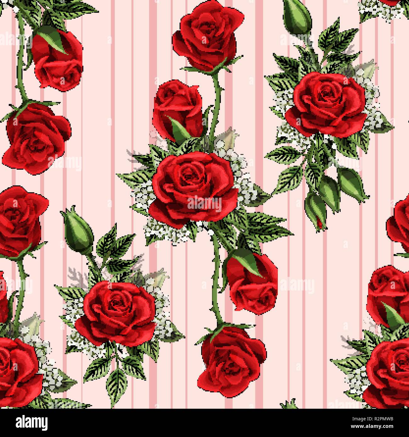 Red Rose Flower Bouquet Spreads Creeper Elements Seamless