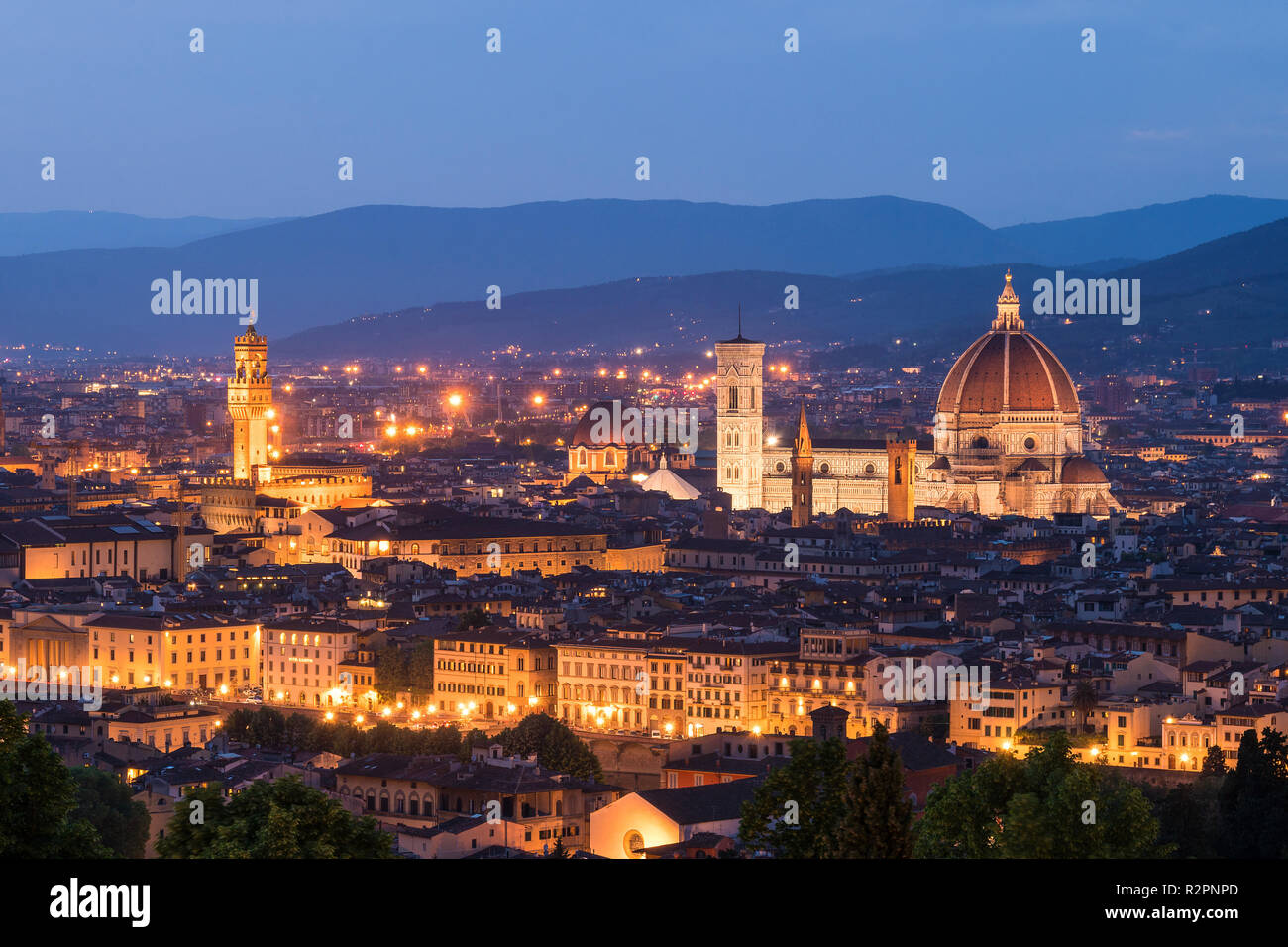 Florence, Dome and Palazzo Vecchio at the blue hour - Stock Image
