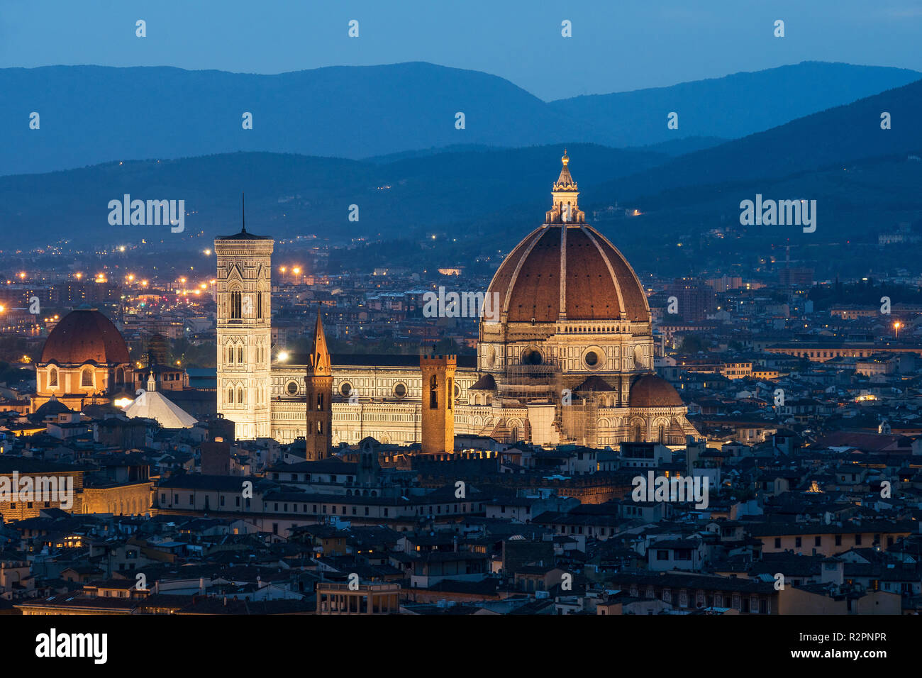 Florence, cathedral during the blue hour - Stock Image