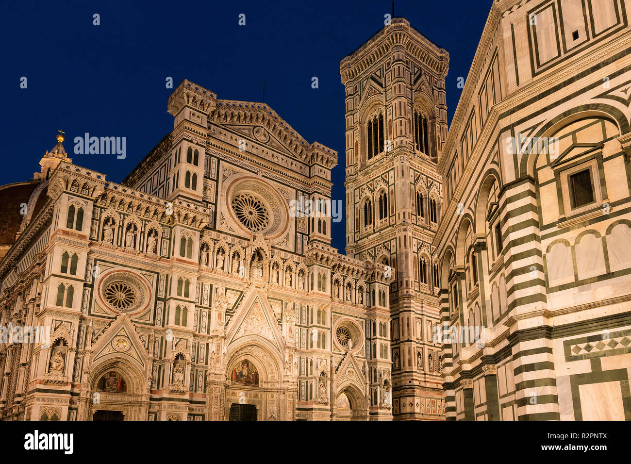 Florence, Dome, Cathedral, Santa Maria del Fiore, blue hour - Stock Image
