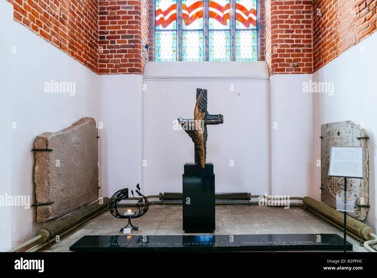 Chapel for victims of repression. St. Peter's Church is a Lutheran church in Riga, the capital of Latvia, dedicated to Saint Peter. Riga, Latvia, Balt - Stock Image