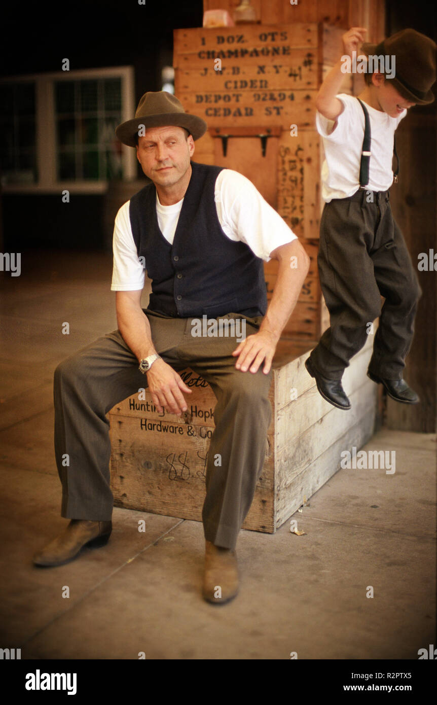 Father and son at train depot - Stock Image