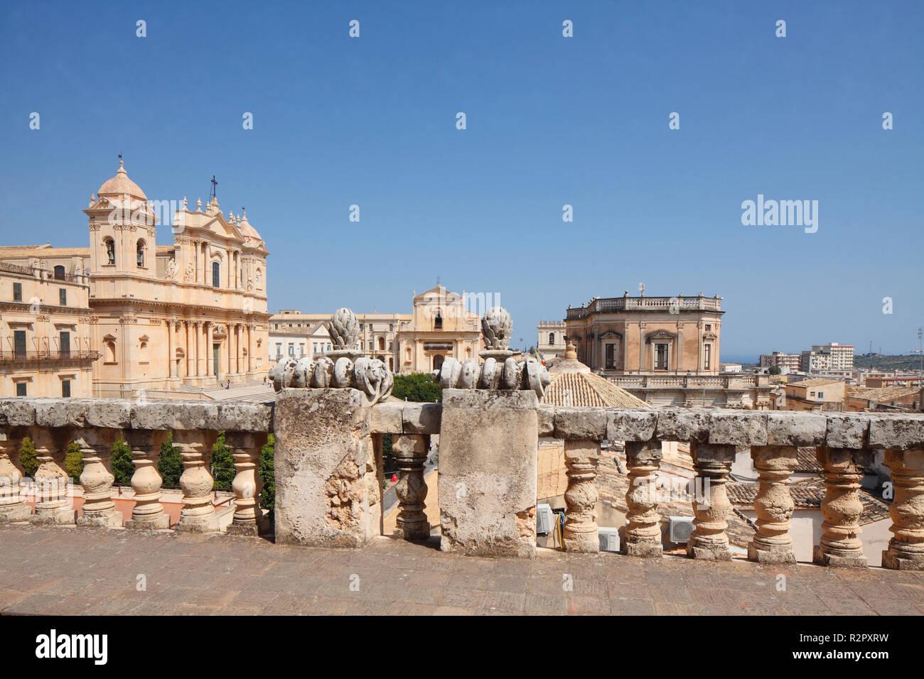 Noto Cathedral, Benedictine monastery of Santissimo Salvatore, Noto, UNESCO World Heritage cultural site, Val di Noto, Province of Syracuse, Sicily, Italy, Europe - Stock Image