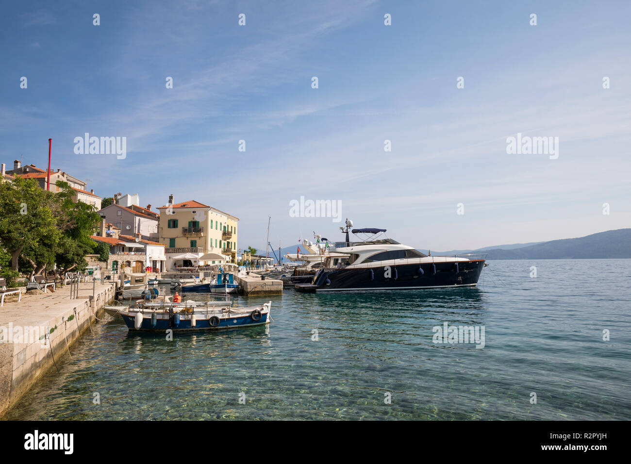 Harbour of Valun, Island of Cres, Kvarner Bay, Croatia Stock Photo