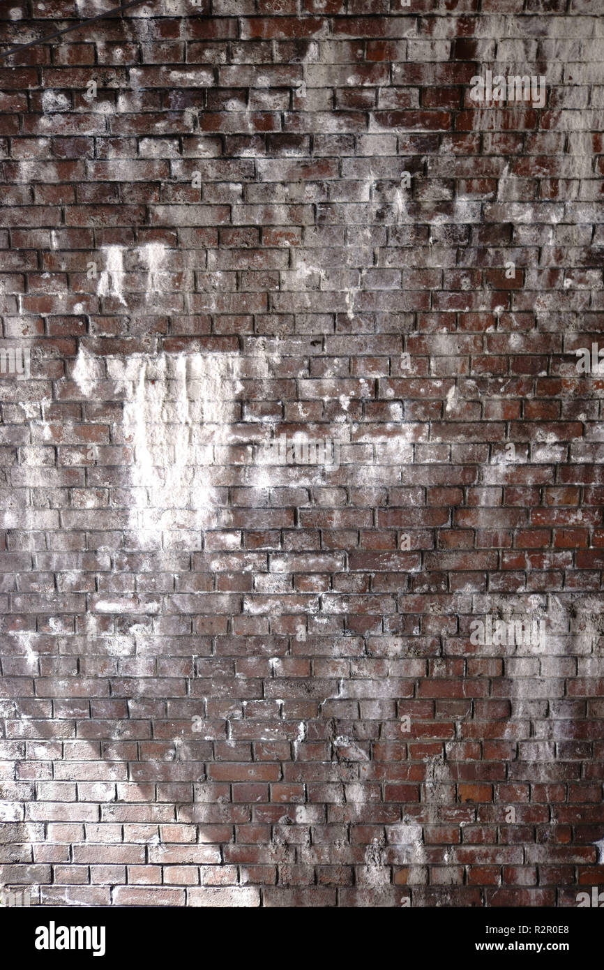 Underpass below bridge, brick wall stained by bird droppings - Stock Image