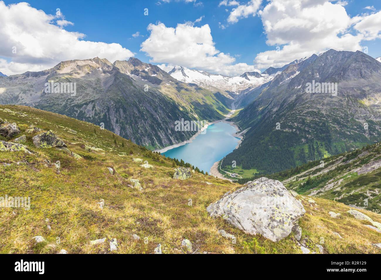 Schlegeis Strausee seen from near the Olperer Hut, Zillertal Alps, Tyrol, Schwaz district, Austria Stock Photo