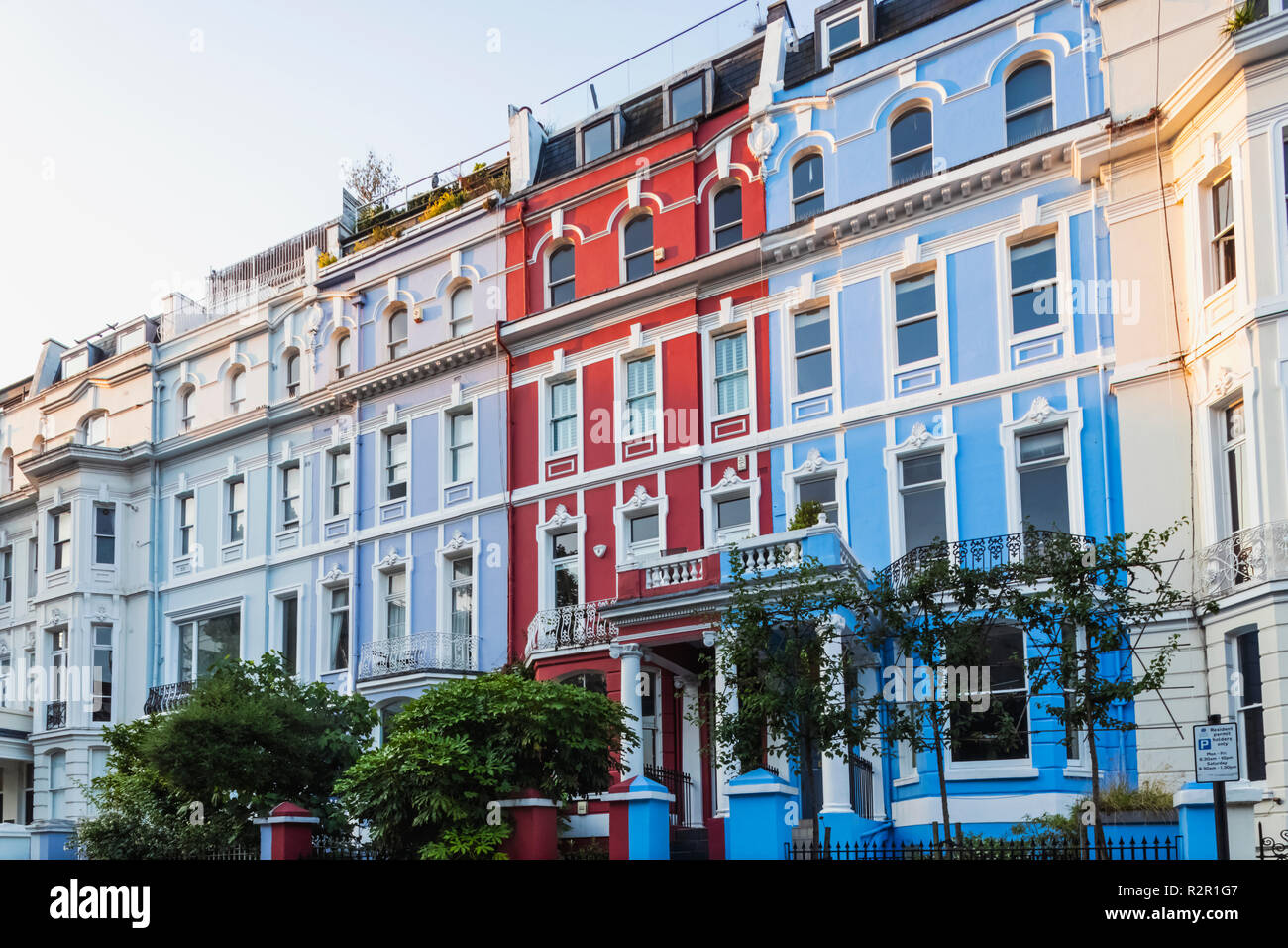 England, London, Notting Hill, Colville Terrace, Colourful Houses - Stock Image