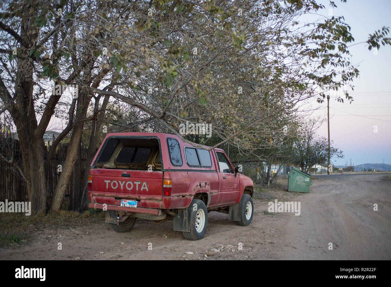 Rusting Toyota pickup on a street of Alpine, Texas. - Stock Image