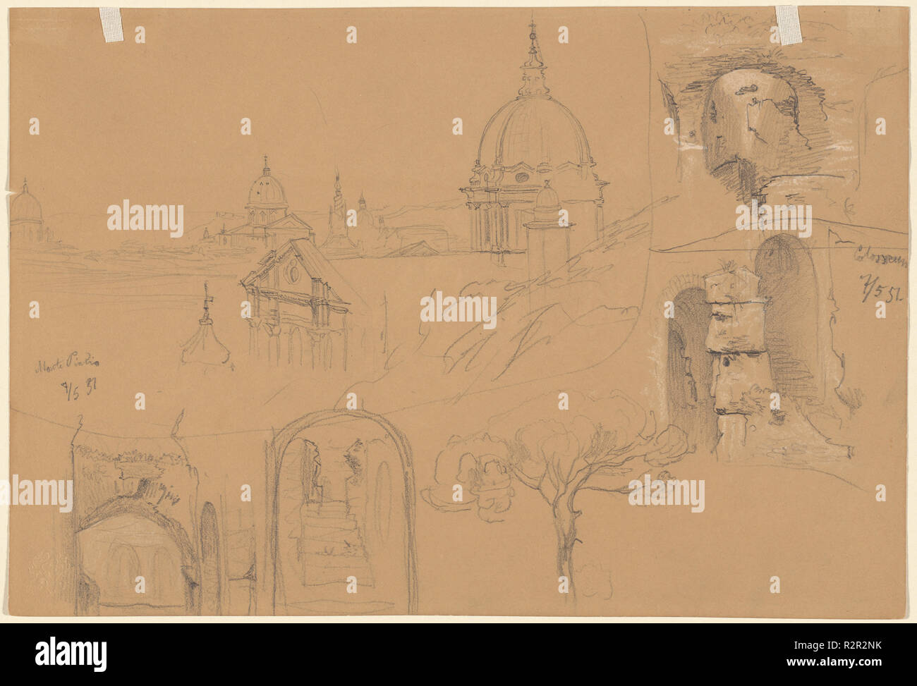 Studies of the Colosseum and Monte Pincio (verso). Dated: 1851. Dimensions: sheet: 17.2 × 25.2 cm (6 3/4 × 9 15/16 in.). Medium: graphite with white heightening on brown paper. Museum: National Gallery of Art, Washington DC. Author: Julius Jacob the Elder. - Stock Image
