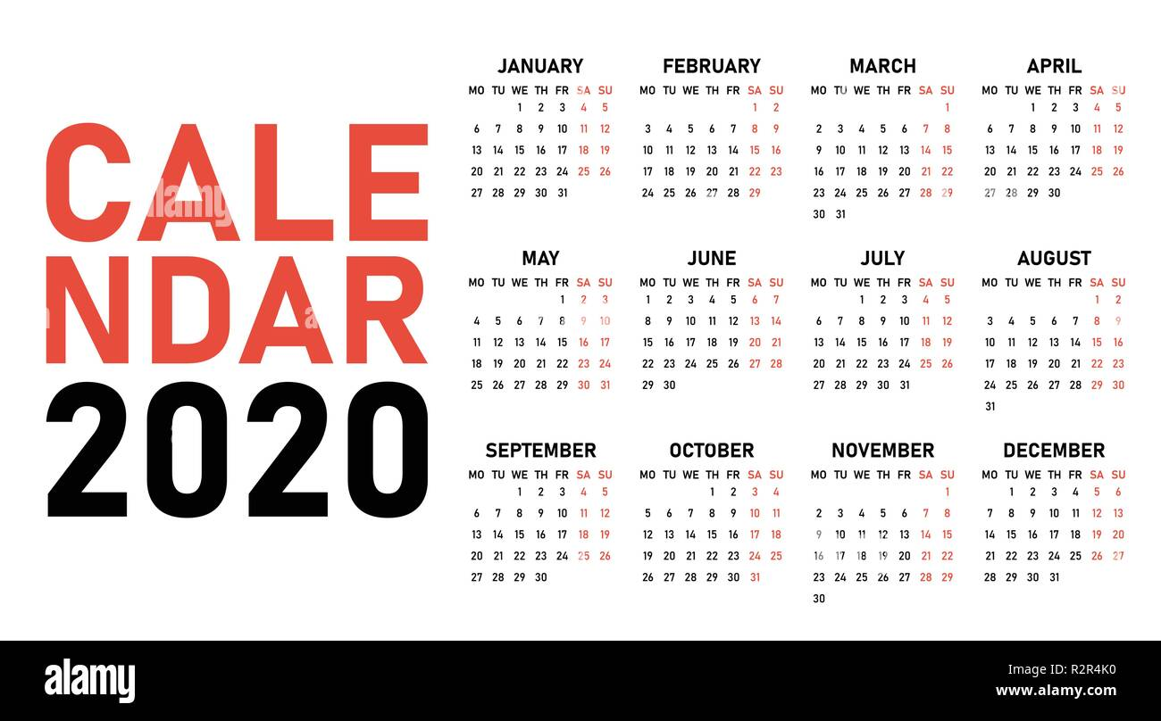Calendario 2020 Con Week.Simple 2020 Year Calendar Week Stock Photos Simple 2020
