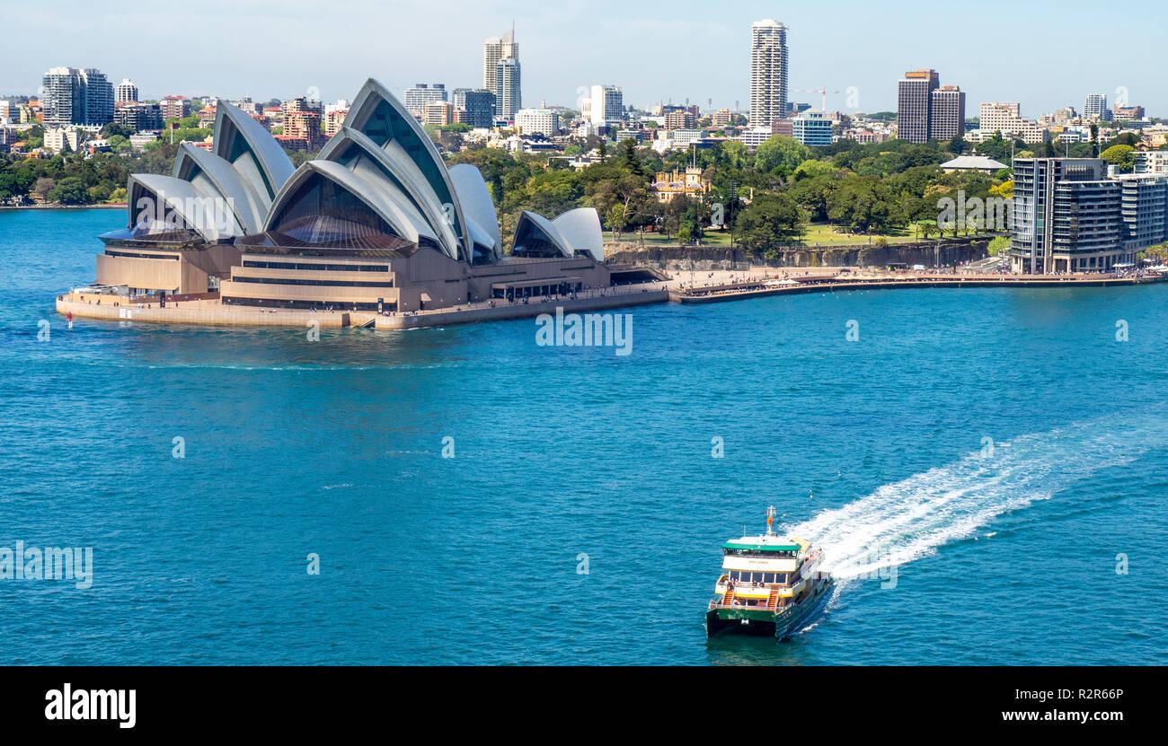 Public transport Sydney Harbour ferry and Sydney Opera House NSW Australia. Stock Photo