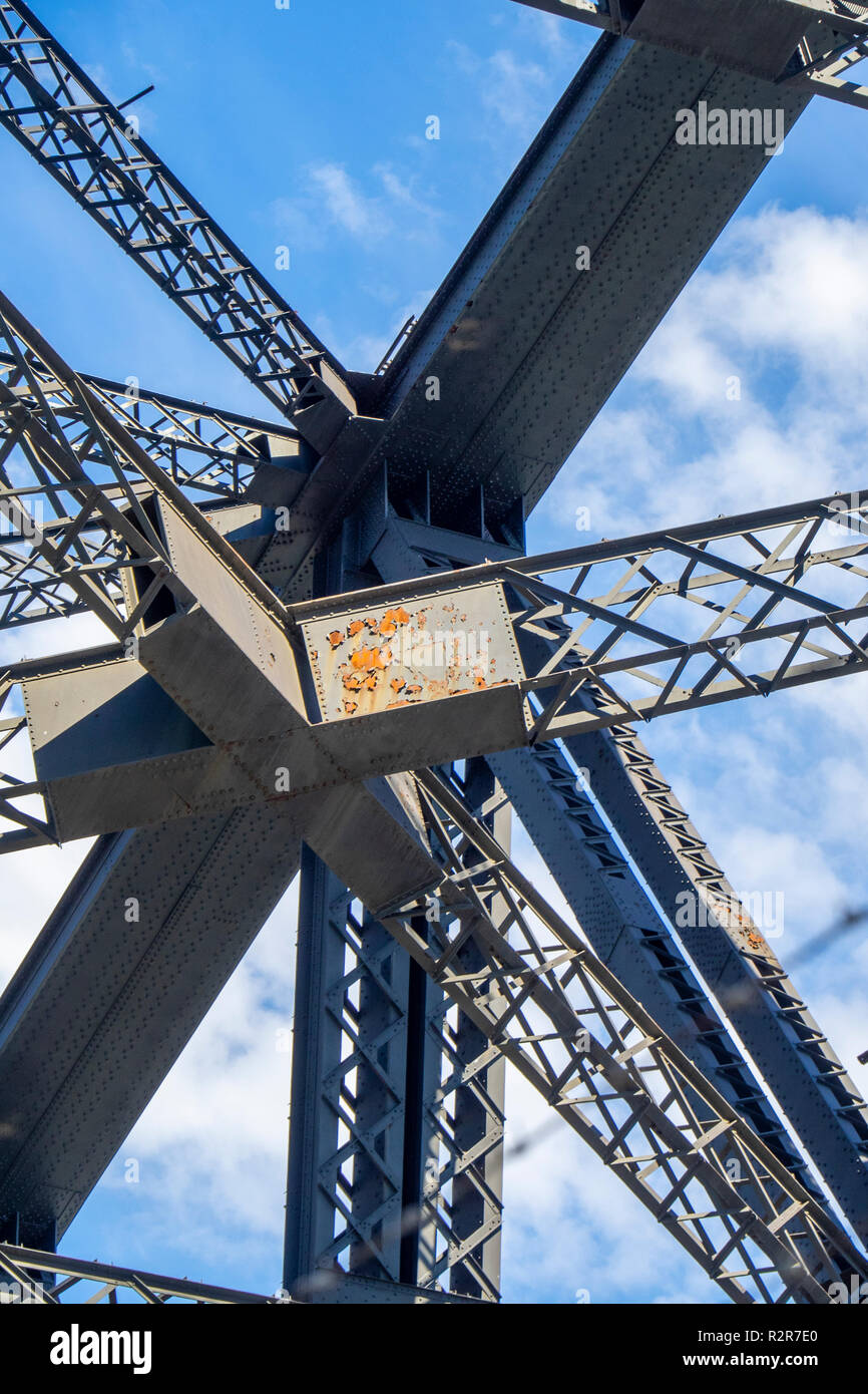 Rusty patches on support beams trusses and girders of Sydney Harbour Bridge NSW Australia. - Stock Image