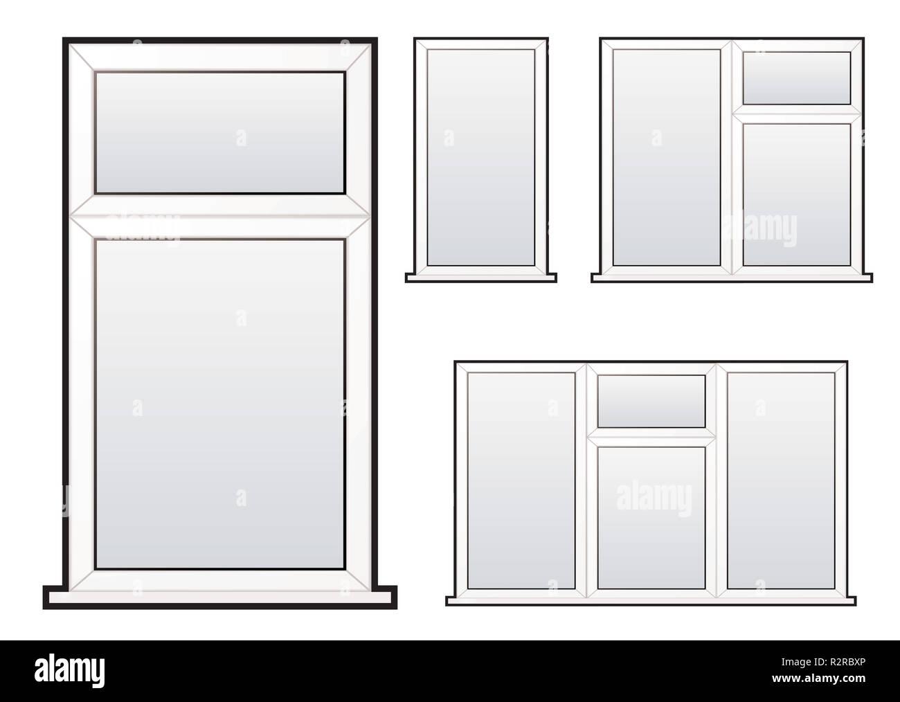 White Plastic Double Glazed Window Illustration Collection Concept Glazing Diagram