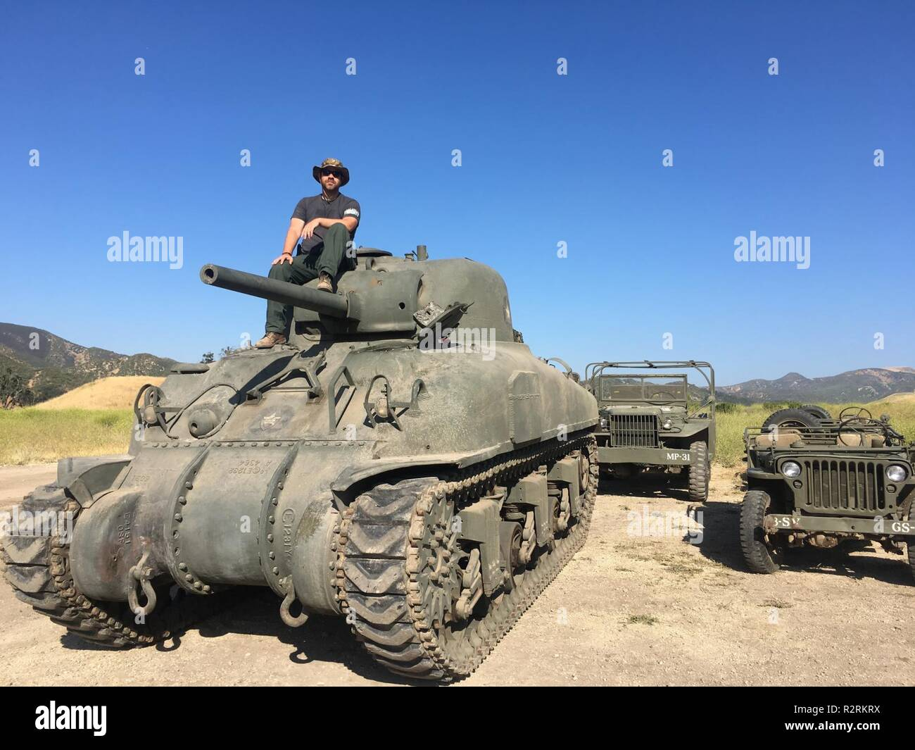Used Military Vehicles >> Mike Dowling On Set On A Tank With Other Military Vehicles