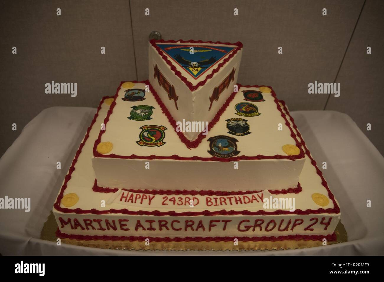 Marine Aircraft Group 24s Birthday Ball Cake Is Displayed In The Back Of Ballroom Prior To Units Celebration Honolulu Hawaii Nov 3 2018