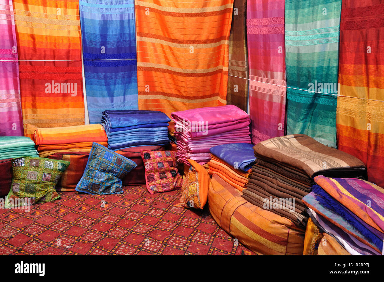 oriental fabrics in fes,morocco Stock Photo