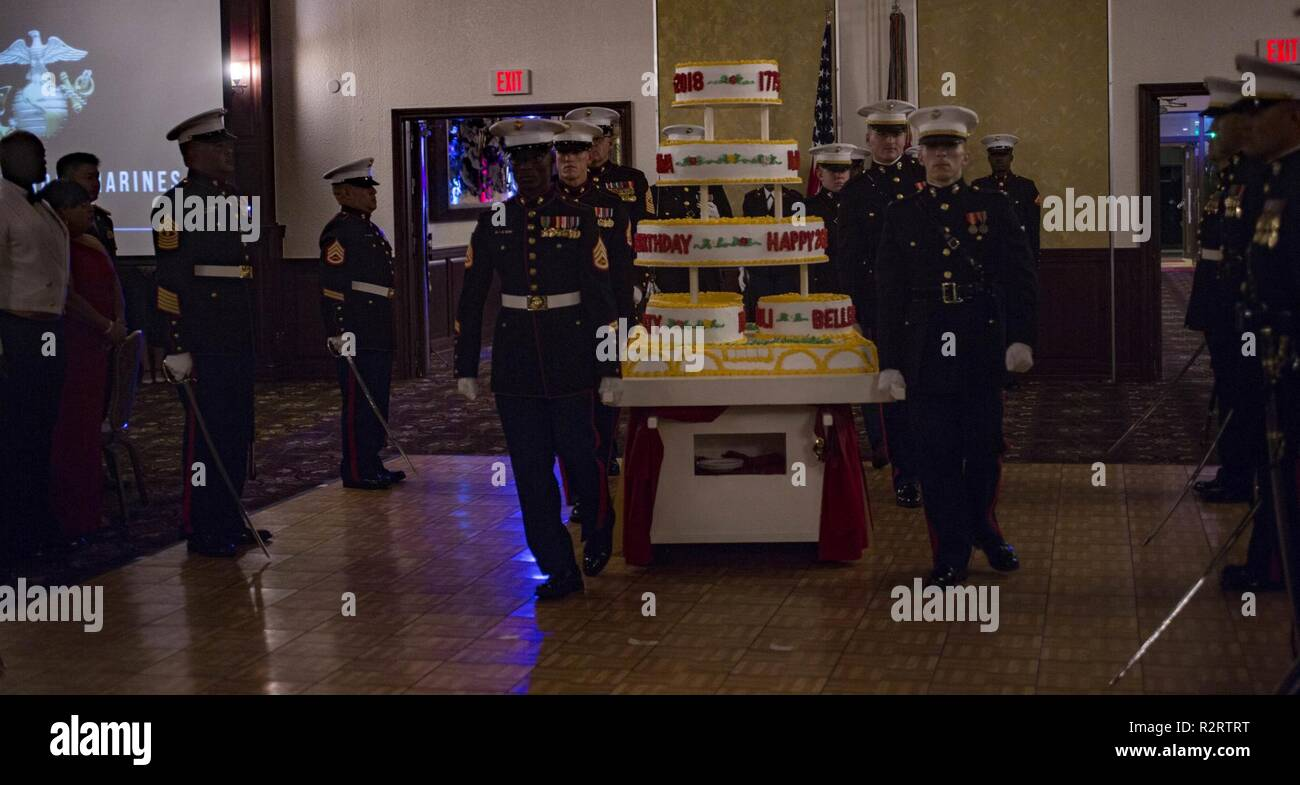 Marines with 3rd Marine Division escort the ceremonial birthday cake during  the Staff Non-Commissioned Officer and Commissioned Officer Marine Corps ...