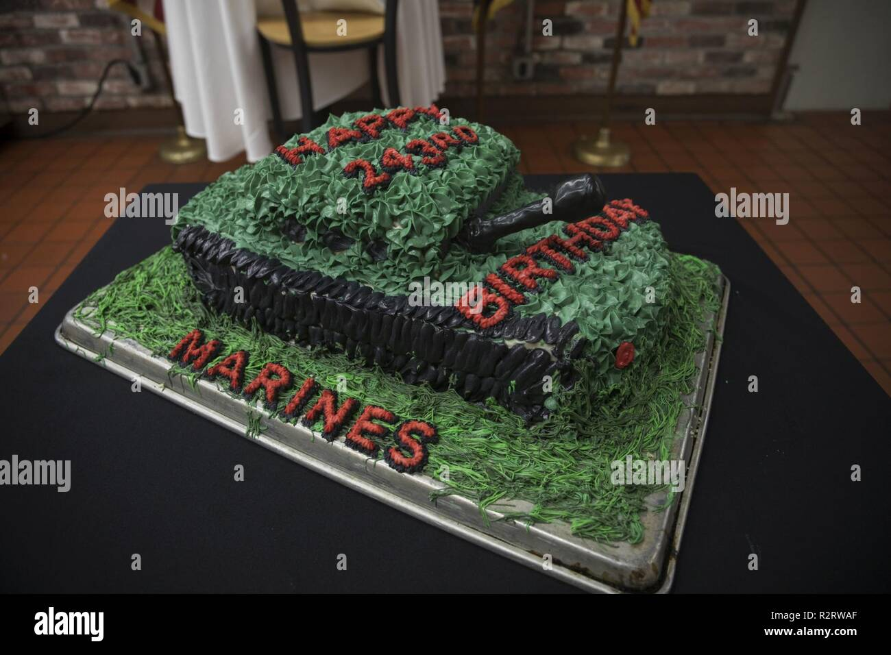 A Birthday Cake Is Displayed During Lunch At The Anderson Chow Hall Marine Corps Base Hawaii Nov 11 2018 Held