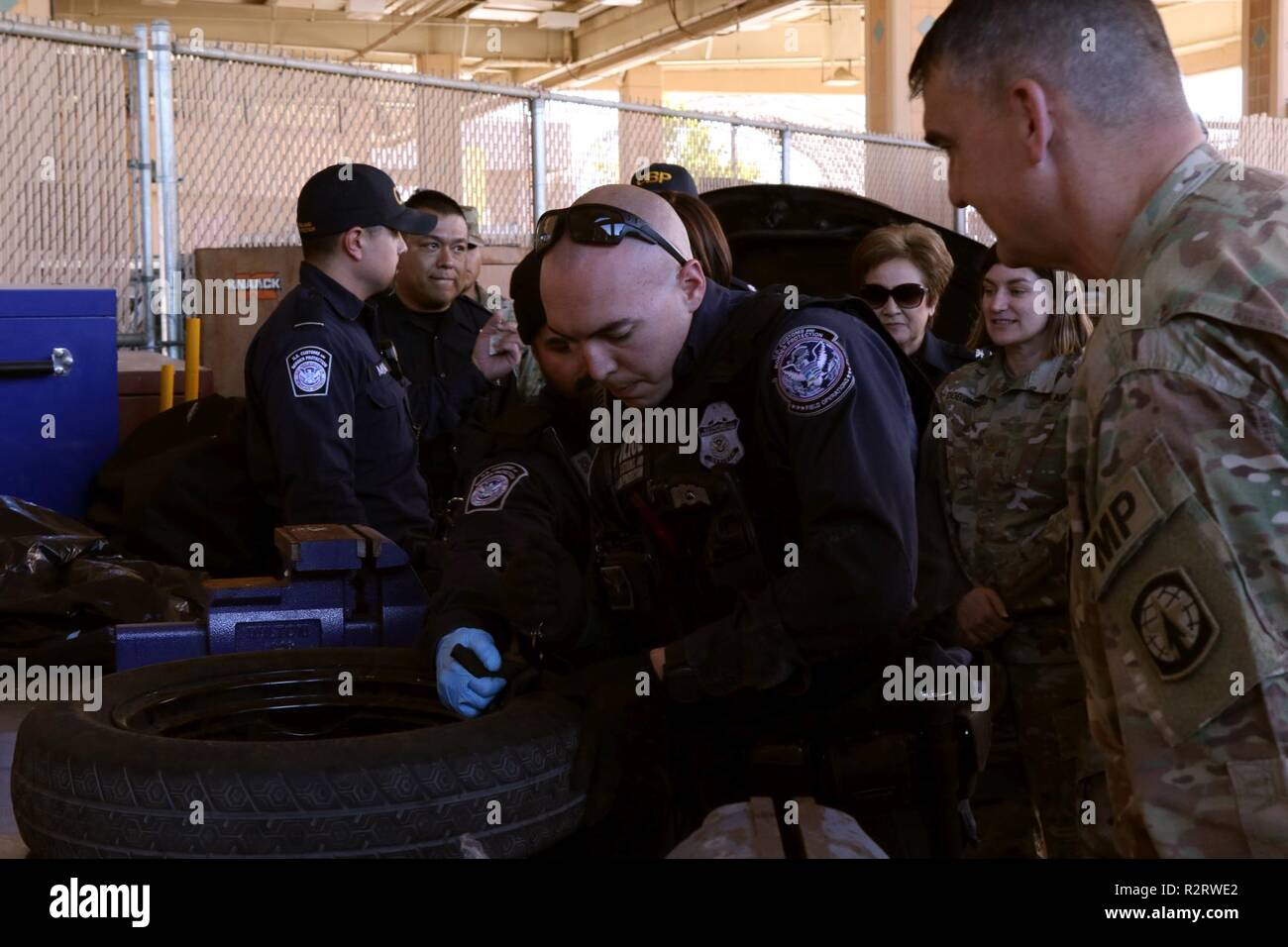 U S  Customs and Border Protection (CBP) officers show Col