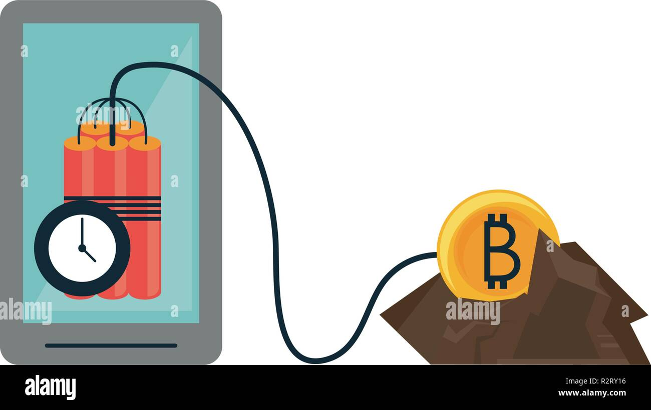 Bitcoin Mining And Investment Smartphone And Tnt Detonator Vector -