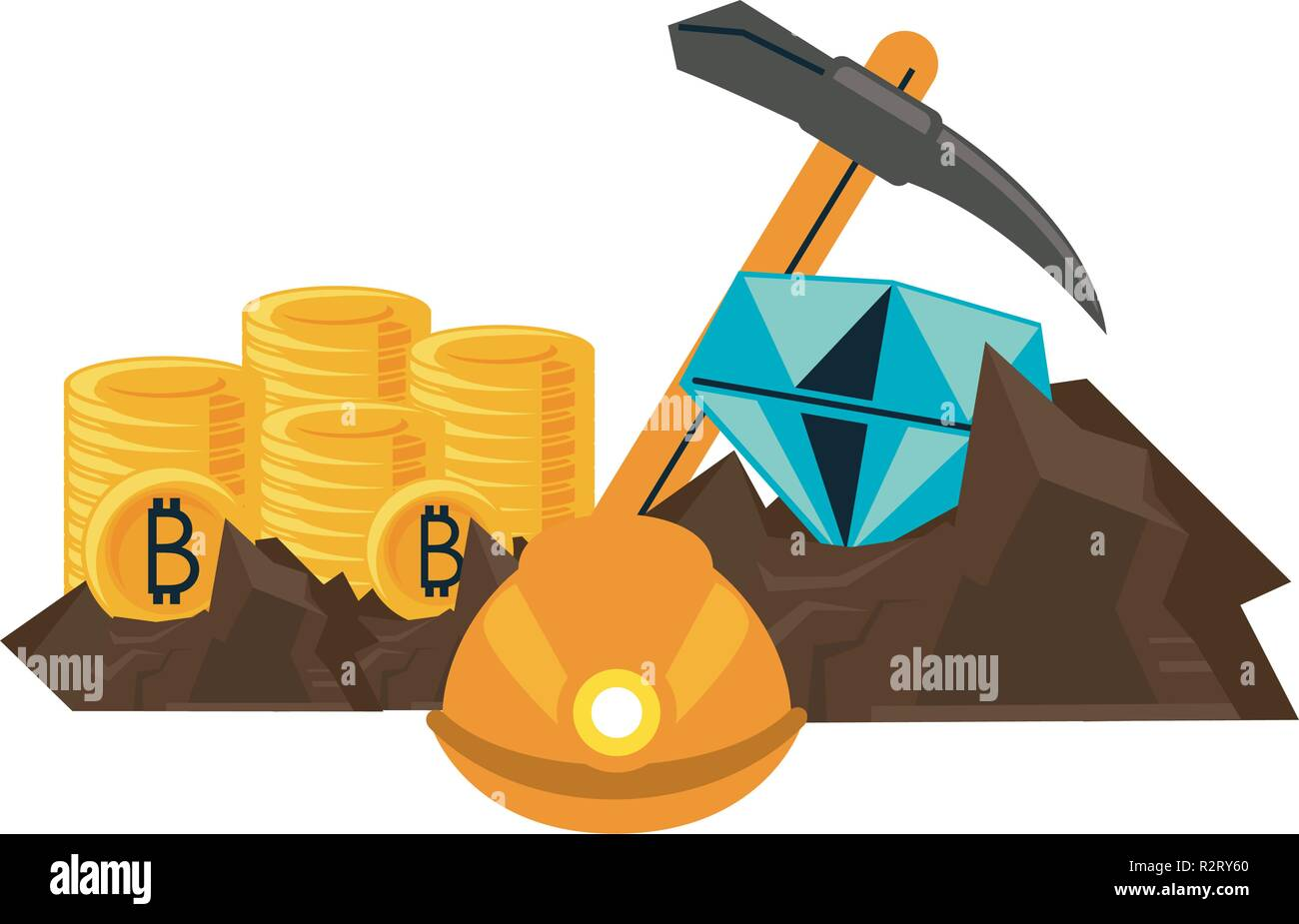 Bitcoin M!   ining And Investment Mine With Diamonds And Pick Vector -