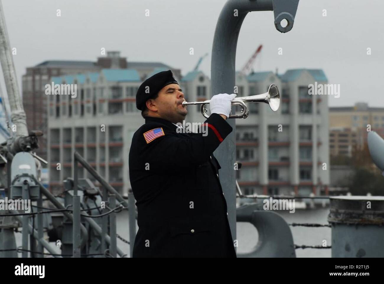 91047b8a7e9 The Hampton Roads Naval Museum held a ceremony aboard the fantail of the  USS Wisconsin (BB 64) to mark the signing of the armistice that ended the  First ...