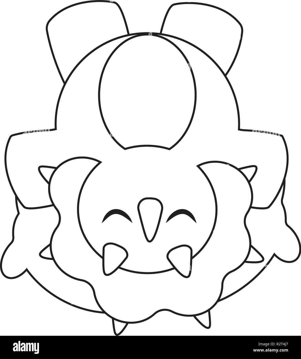 Cute cartoon dinosaur - Stock Image