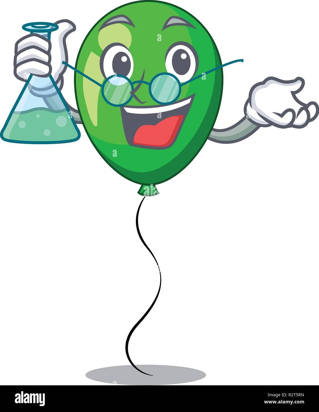 Professor green baloon on left corner mascot - Stock Vector