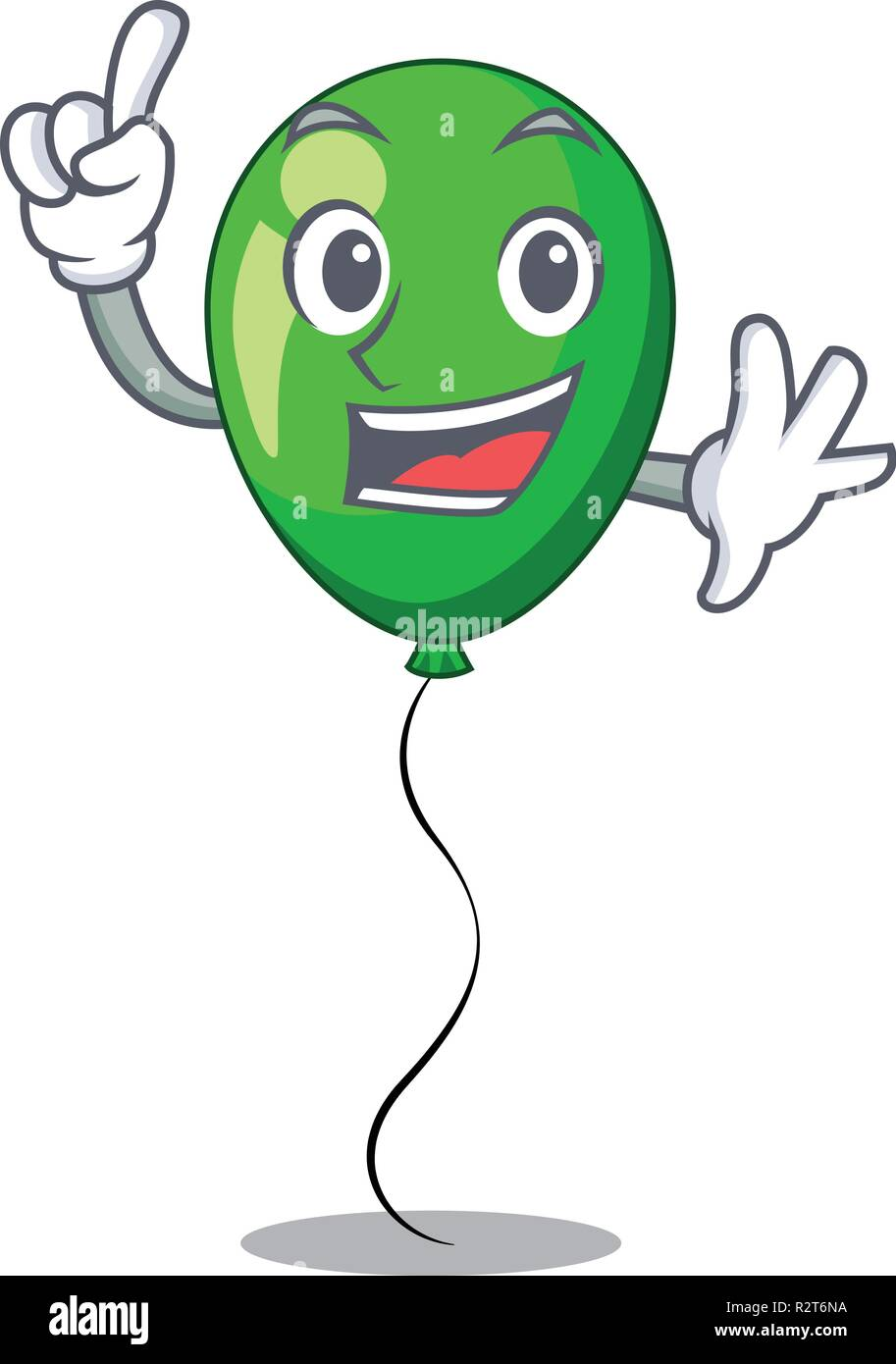 Finger green balloon on character plastic stick - Stock Vector