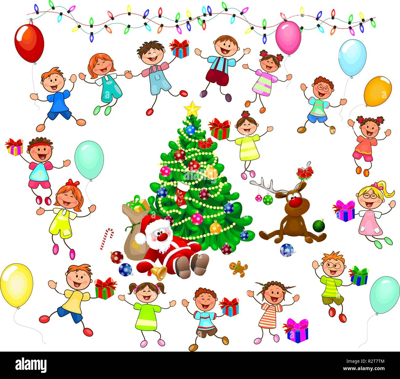 Joyful little children and Santa near the Christmas tree. Santa, deer and children celebrate Christmas. A group of children with gifts. - Stock Vector