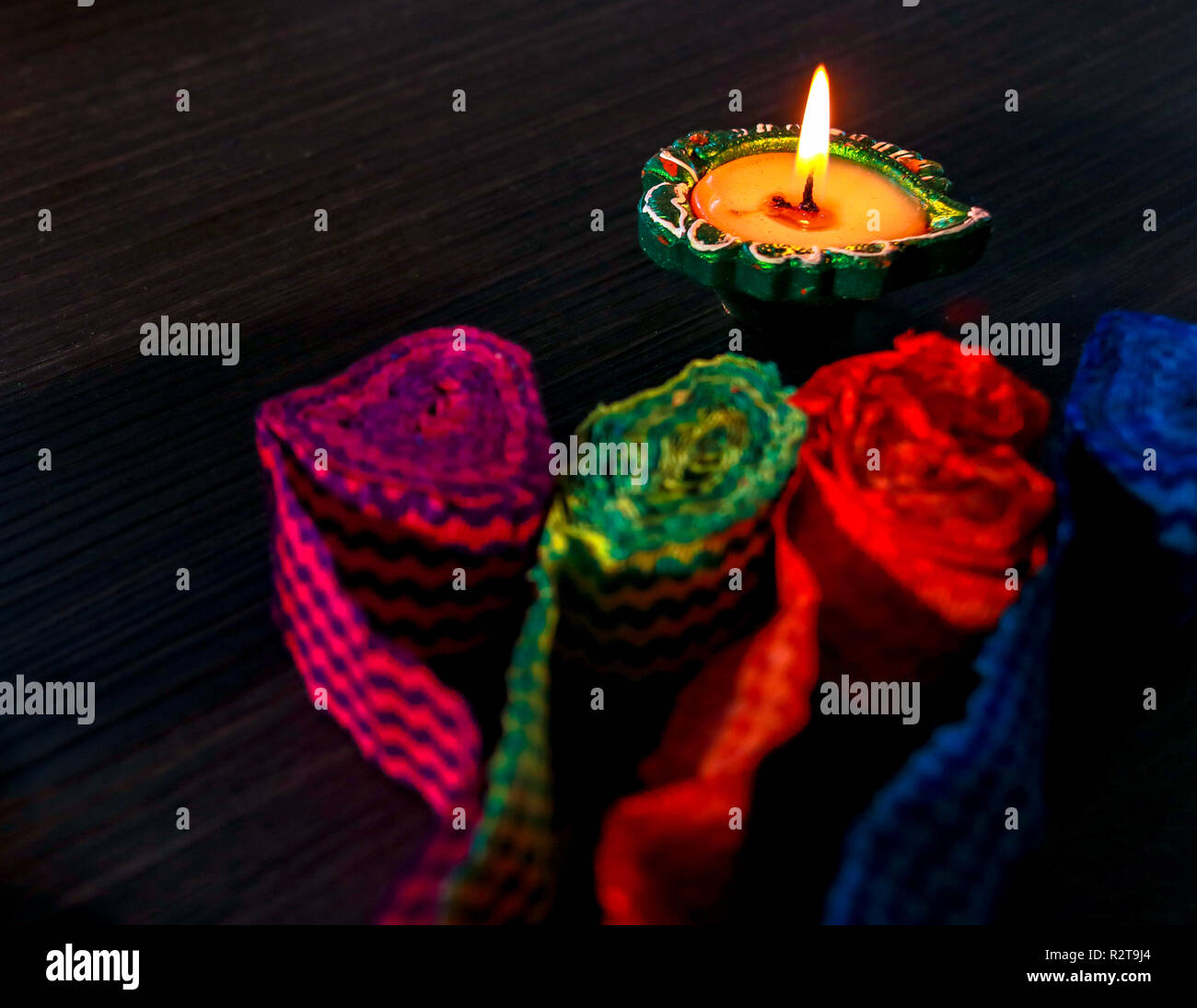 A typical view of diya arranged for celebrating diwali and dhanteras in Asia Stock Photo