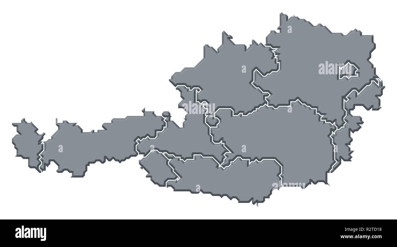 map of austria - Stock Image