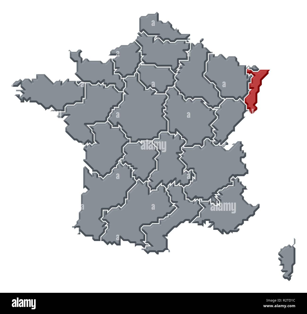 map of france,alsace highlighted - Stock Image