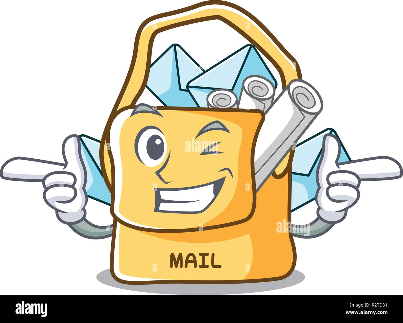 Wink the bag with shape mail cartoon - Stock Image