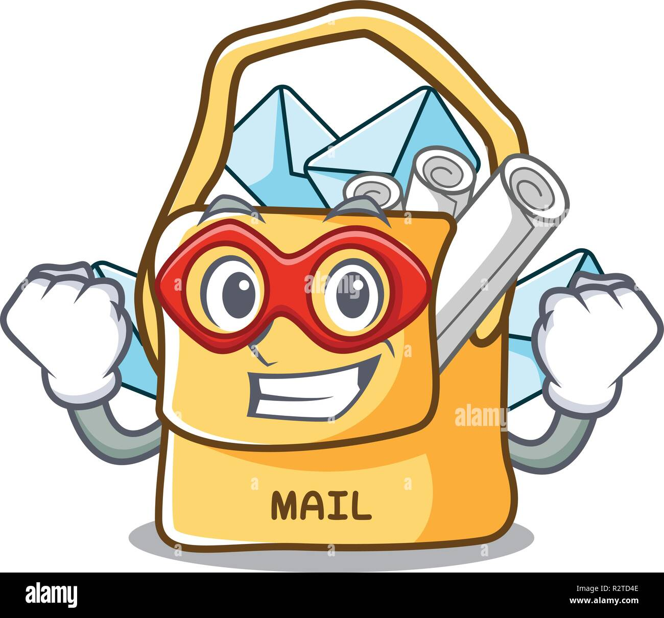 Super hero the bag with shape mail cartoon - Stock Vector