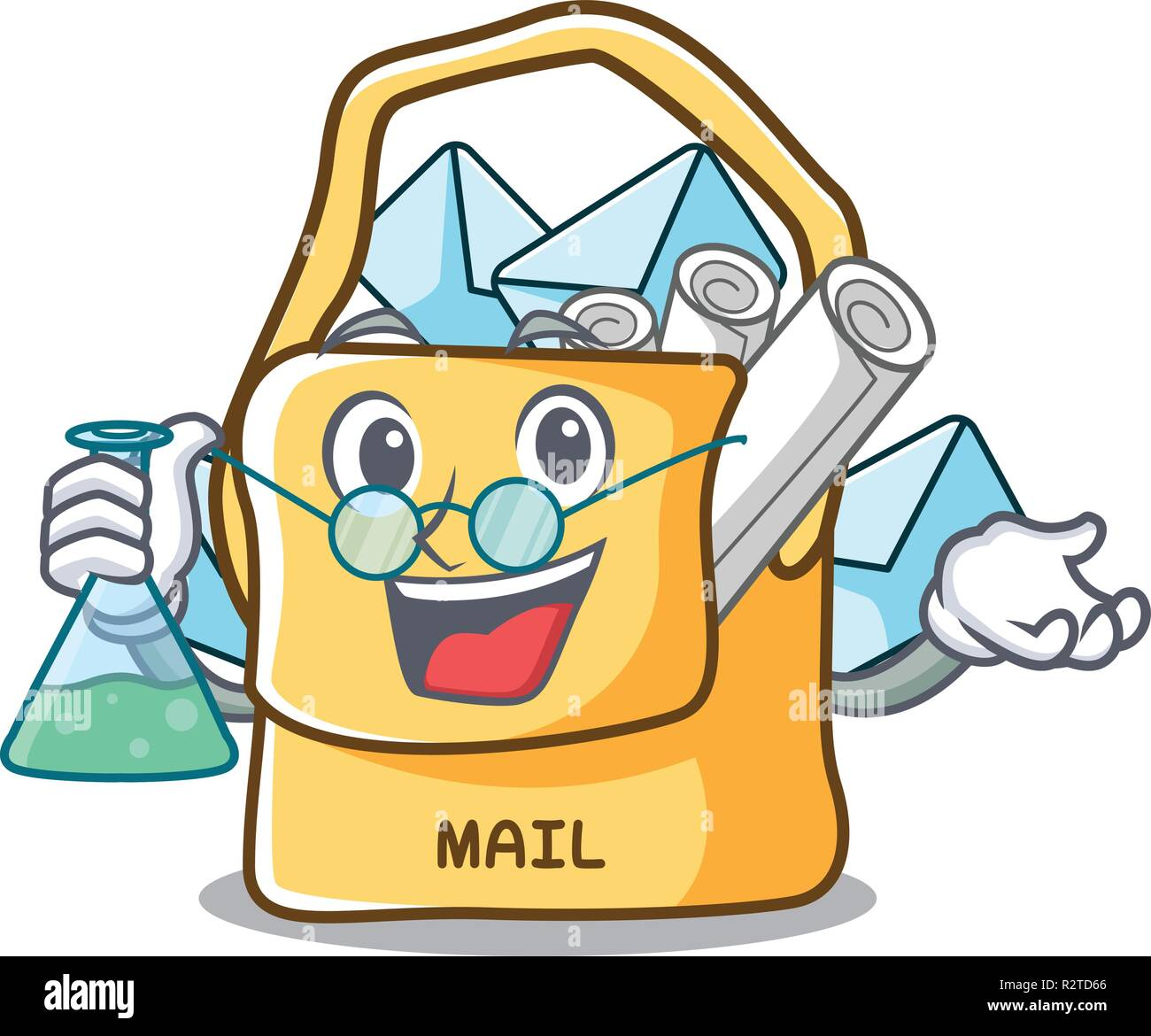 Professor the bag with shape mail cartoon - Stock Vector