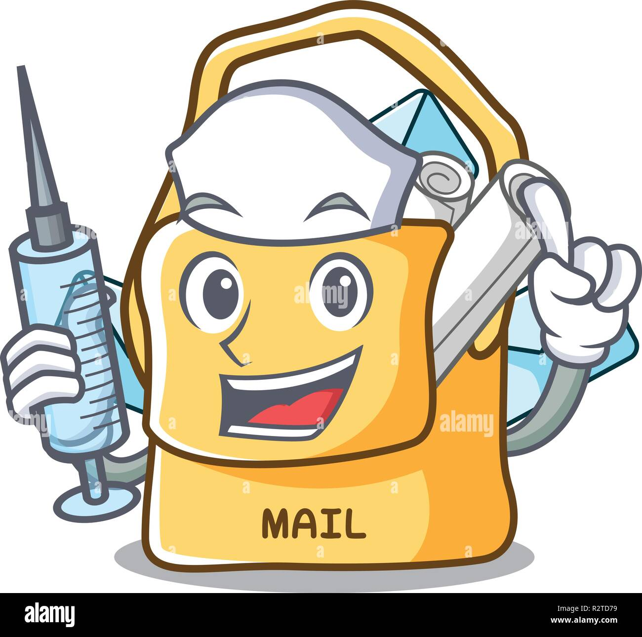 Nurse the bag with shape mail cartoon - Stock Vector
