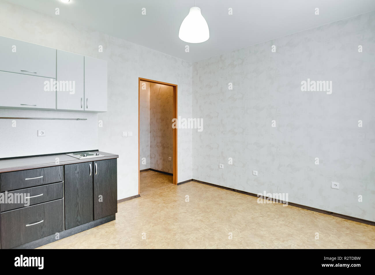 interior in a small studio apartment. kitchen set. repair in ...