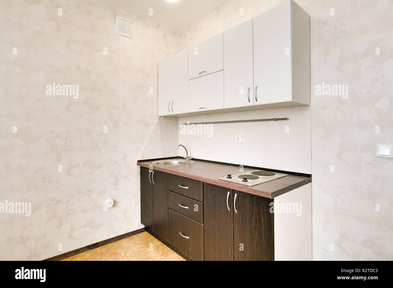 Interior in a small studio apartment kitchen set repair in a new building
